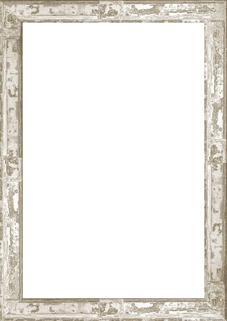 Biała ramka tło zdobione drewniane pękniętych granic.