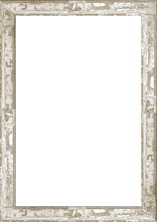 Sfondo cornice bianca con bordi screpolati in legno decorato.