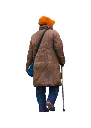 Isolated back view photo of senior woman with walking stick 스톡 콘텐츠