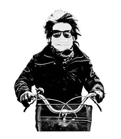 Isolated stencil or graffiti style art depicting man with glasses and mouth cover riding bicycle 스톡 콘텐츠