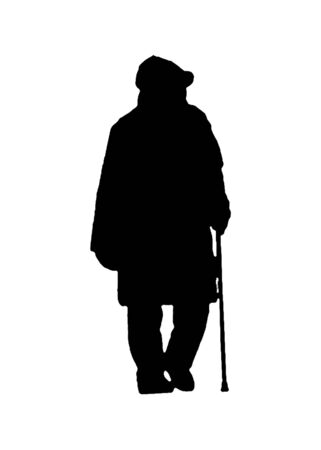 Isolated back view graphic silhouette of senior woman with walking stick