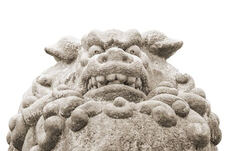 Low angle close up shot mythological animal sculpture located at ueno park, toyko, japan 스톡 콘텐츠