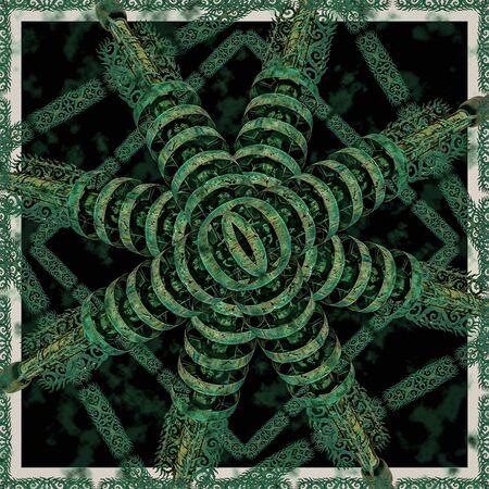 Digital art photo manipualtion collage technique geometric ornate seamless mosaic artwork in green and black colors Standard-Bild - 134750510