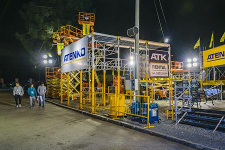MONTEVIDEO, URUGUAY, OCTOBER - 2019 - Exterior night scene at construction fair event, montevideo city, uruguay Editorial