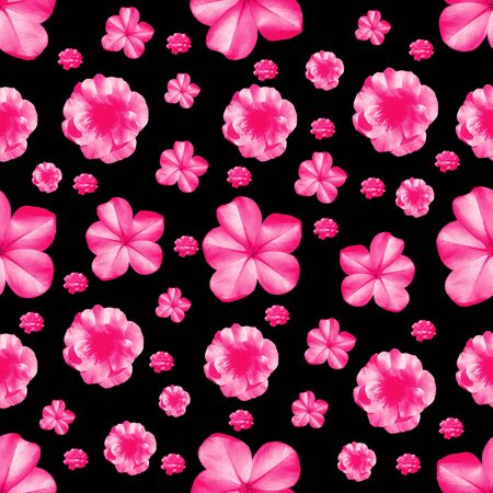 Digital photo collage and manipulation technique modern stylized floral collage motif seamless pattern mosaic in vivid pink and black tones Reklamní fotografie