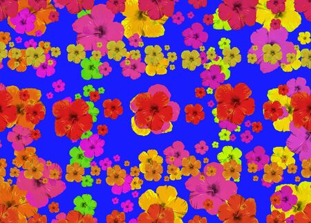 Digital photo collage and manipulation technique nature floral collage motif seamless pattern mosaic in vivid multicolored tones
