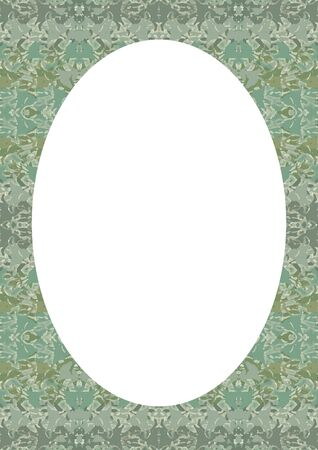 White frame background with vintage patterned decorated design rounded borders.