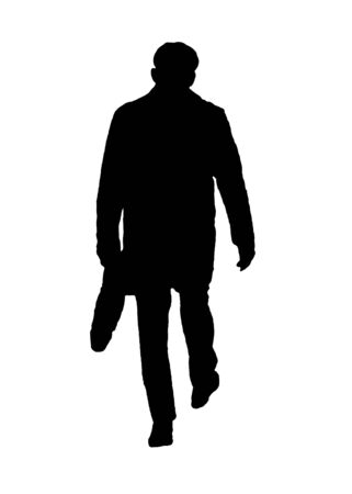 Back view isolated graphic silhouette of man walking while carrying briefcase  Фото со стока