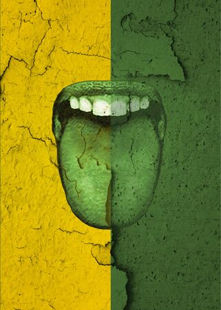 Mouth with tongue out over green and yellow textured background freaky unique template design Фото со стока