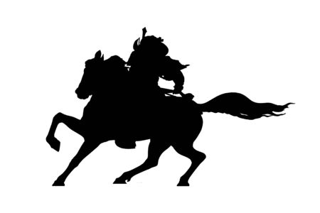 Smurai mounted at horse graphic silhouette illustration in black color over white Stock fotó