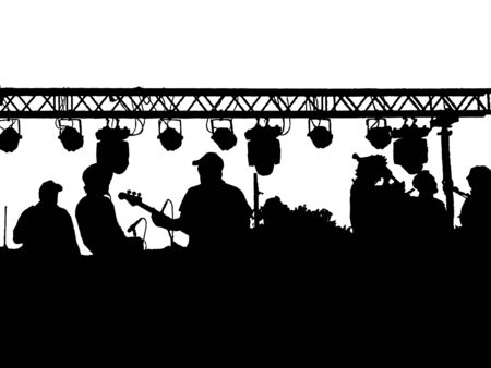 Music band playing black graphic silhouette isolated on white background Stockfoto