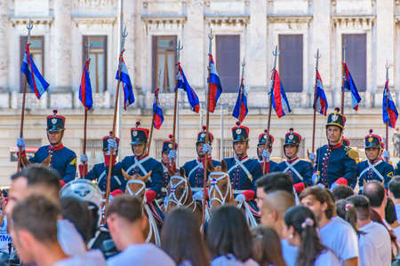 MONTEVIDEO, URUGUAY, MARCH - 2020 - Military guard as assumption parade of Lacalle Pou Herrera as new president of uruguayan republic Banco de Imagens - 142093354
