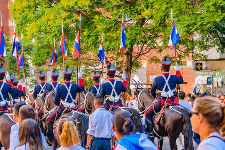 MONTEVIDEO, URUGUAY, MARCH - 2020 - Military guard as assumption parade of Lacalle Pou Herrera as new president of uruguayan republic Banco de Imagens - 142093393