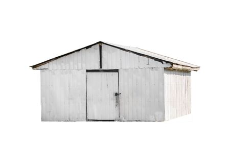 White old shed building isolated on white background