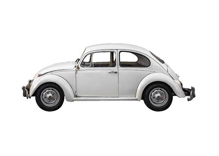 Famous retro beetle car side view photo isolated on white background