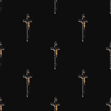 Jesuschrist on the cross wooden sculpture motif seamless pattern design