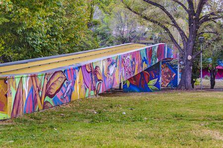 MENDOZA, ARGENTINA, APRIL - 2019 - Painted small walway at civic park, mendoza capital, argentina