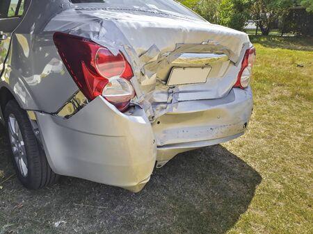 Detail view crashed car parked at street, punta del este, uruguay