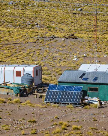 Aerial view of small park rangers camp, at aconcagua national park, mendoza, argentina