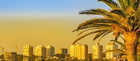 Afternoon summer time cityscape scena at punta del este city, Uruguay