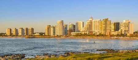 Summer cityscape scene at mansa beach in punta del este city, Uruguay Imagens