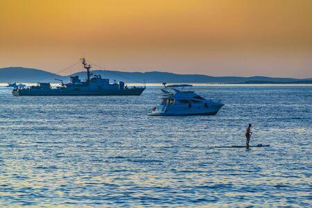 PUNTA DEL ESTE, URUGUAY, FEBRUARY - 2020 - Army ship and yatch at ocean pacific, mansa beach , punta del este city, Uruguay