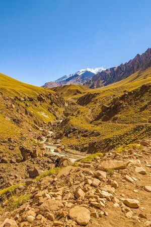 Arid landscape scene at aconcagua national park, mendoza province, argentina