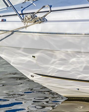 Detail view of white yatch parked at port of punta del este, uruguay