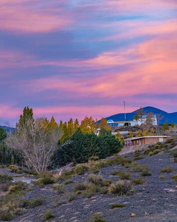 Small village landscape scene at el leoncito national park, calingasta district, san juan province, argentina