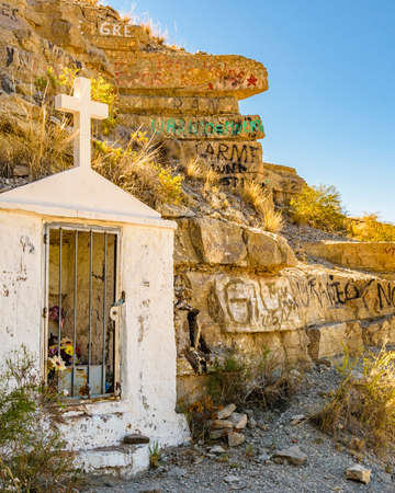 Small rudimental chapel located at deserted route, san juan province, argentina