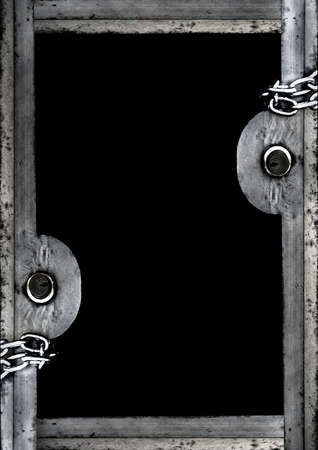 Black frame background with decorated padlock design borders.
