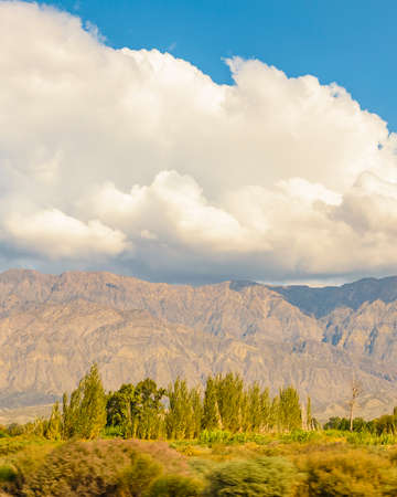 Countryside sunny day landscape scene at san juan province, argentina