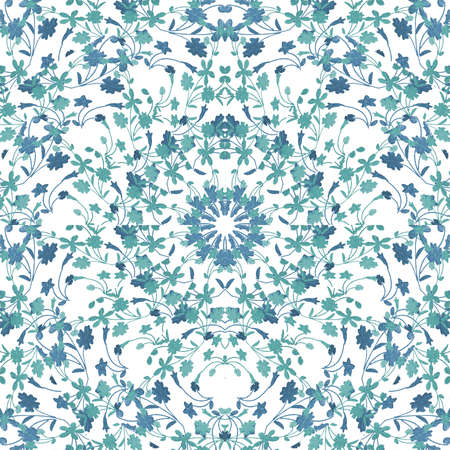 Brigth ornate flowers motif photo collage technique seamless pattern mosaic in blue and white tones Reklamní fotografie