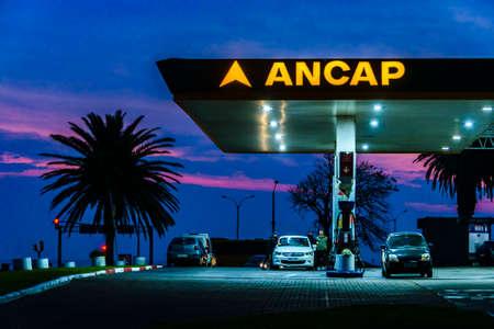MONTEVIDEO, URUGUAY, AUGUST - 2020 - Night scene gas station building, montevideo, uruguay