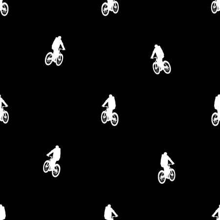 Riding bik motif seamless pattern design in black and white colors Stock fotó