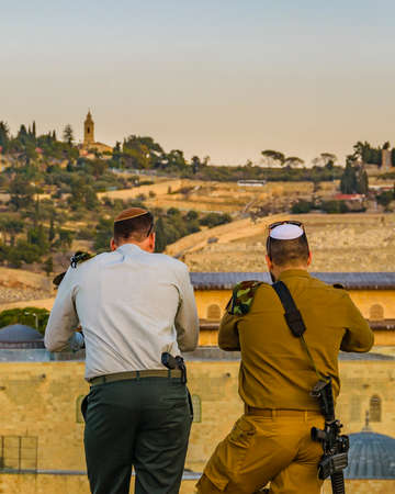 Soldier and police at temple mount viewpoint old jersualem city,
