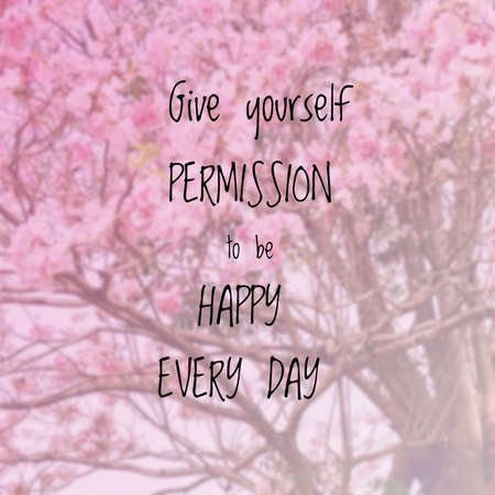 Inspirational quote on blurred background Standard-Bild