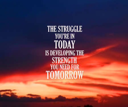 Inspirational and motivation quote on blurred landscape background 写真素材