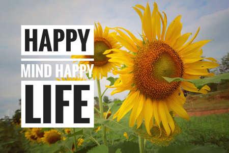 Quote-happy mind happy life Standard-Bild