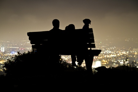 hollywood hills: Hollywood Night, Man, Woman, and Dog  Stock Photo