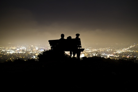 hollywood hills: Hollywood Night, Man, Woman, and Dog Wide
