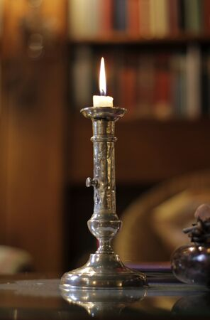 Silver Candle Stick in Library