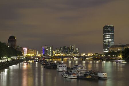 View down the Thames River at Night
