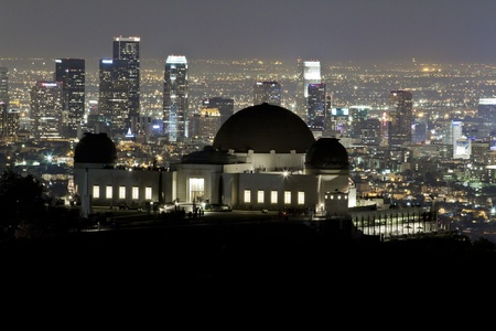 Griffith Observatory CU with Downtown Los Angeles at Night photo