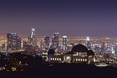 hollywood   california: Griffith Observatory at Night with Downtown L.A. Background HDR Wide