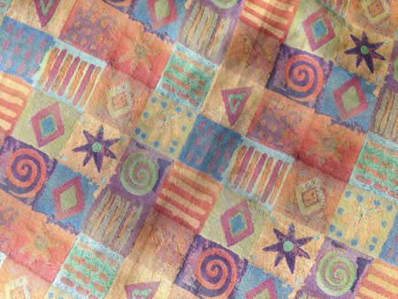 multi colored shapes fabric pattern