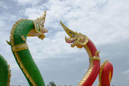 thaiart: big Naga model in thailand temple