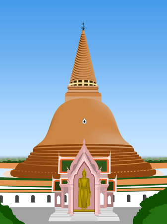 buddism: biggest stupa in temple thailand