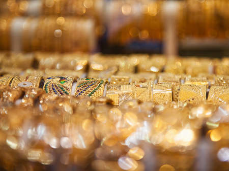 dowry: Gold bangles in a Dubai gold souk  United Arab Emirates Stock Photo