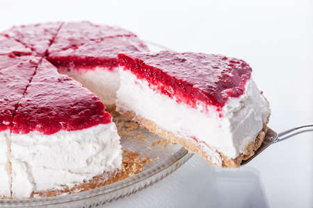 Slice of cheesecake with red fruits
